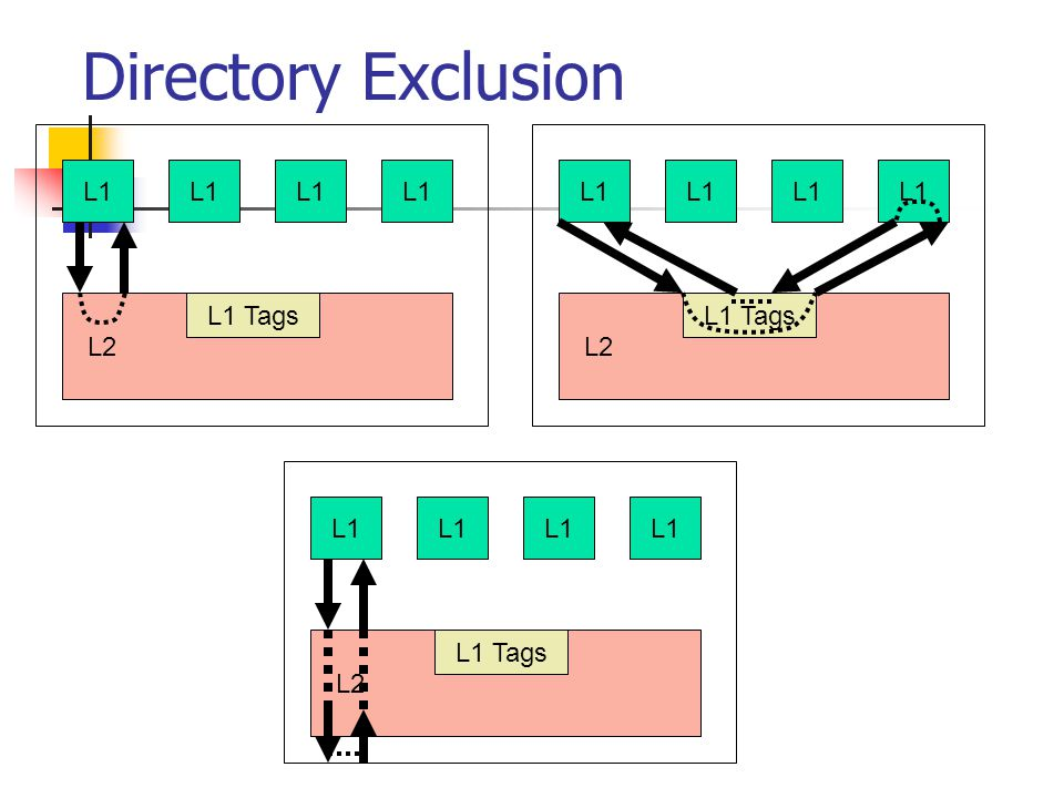 L1 L2 L1 Tags Directory Exclusion L1 L2 L1 Tags L1 L2 L1 Tags