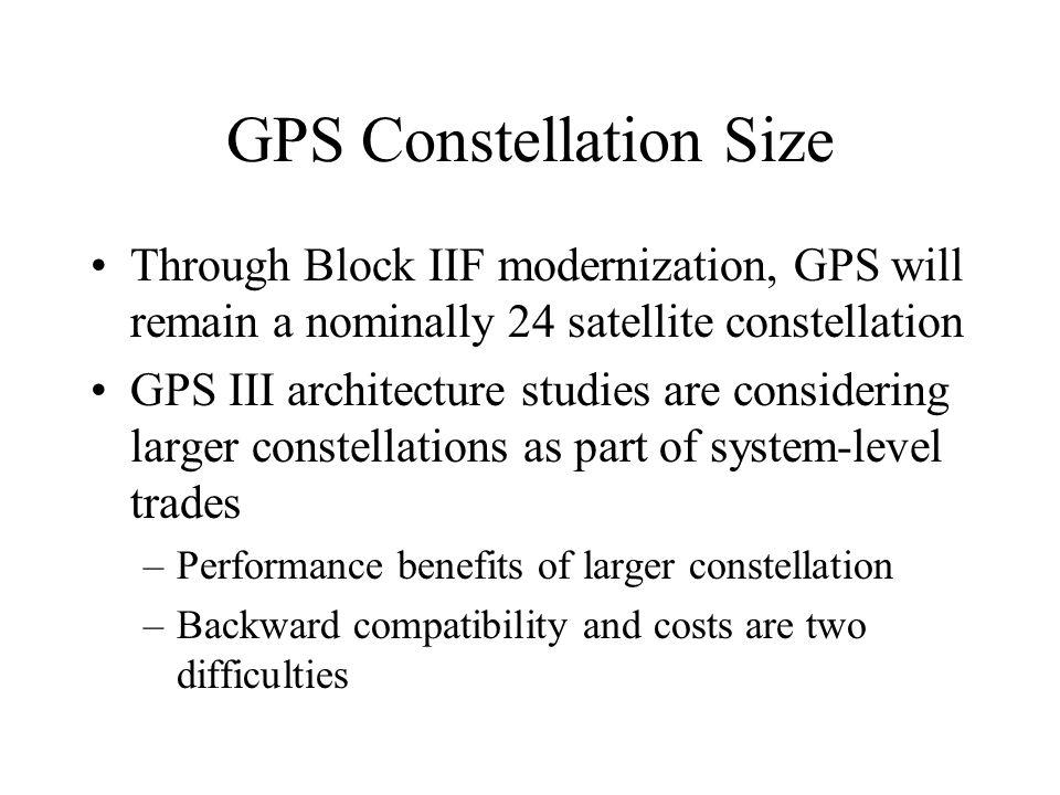 GPS Constellation Size Through Block IIF modernization, GPS will remain a nominally 24 satellite constellation GPS III architecture studies are consid