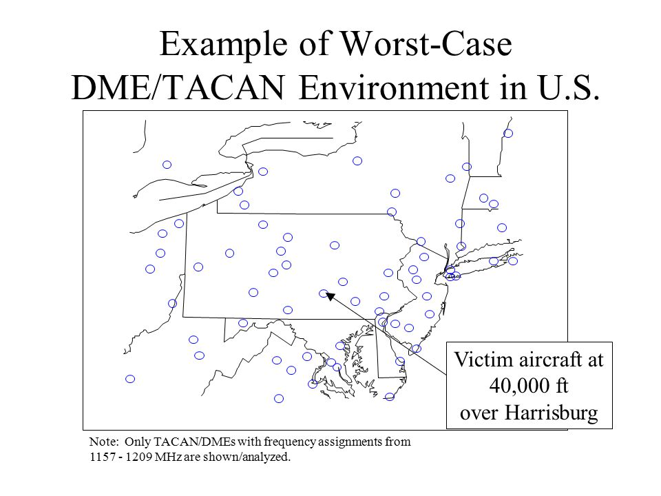 Example of Worst-Case DME/TACAN Environment in U.S. Victim aircraft at 40,000 ft over Harrisburg Note: Only TACAN/DMEs with frequency assignments from
