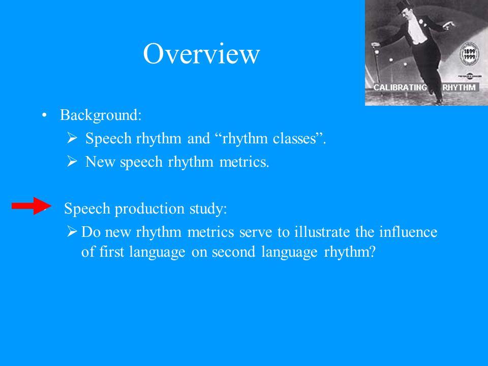 Overview Background:  Speech rhythm and rhythm classes .