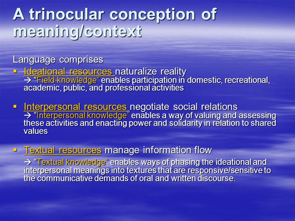 A trinocular conception of meaning/context Language comprises  Ideational resources naturalize reality  Field knowledge enables participation in domestic, recreational, academic, public, and professional activities  Interpersonal resources negotiate social relations  Interpersonal knowledge enables a way of valuing and assessing these activities and enacting power and solidarity in relation to shared values  Textual resources manage information flow  Textual knowledge enables ways of phasing the ideational and interpersonal meanings into textures that are responsive/sensitive to the communicative demands of oral and written discourse.