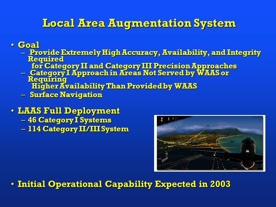 GoalGoal – Provide Extremely High Accuracy, Availability, and Integrity Required for Category II and Category III Precision Approaches for Category II and Category III Precision Approaches – Category I Approach in Areas Not Served by WAAS or Requiring Higher Availability Than Provided by WAAS Higher Availability Than Provided by WAAS – Surface Navigation LAAS Full DeploymentLAAS Full Deployment –46 Category I Systems –114 Category II/III System Initial Operational Capability Expected in 2003Initial Operational Capability Expected in 2003 Local Area Augmentation System