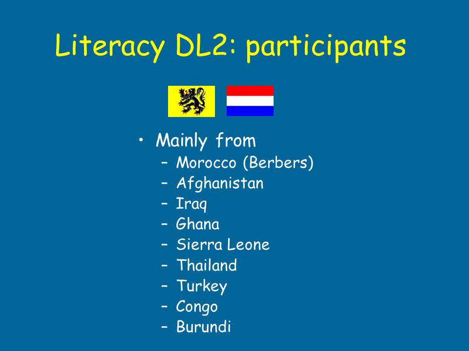Literacy DL2: participants Mainly from –Morocco (Berbers) –Afghanistan –Iraq –Ghana –Sierra Leone –Thailand –Turkey –Congo –Burundi