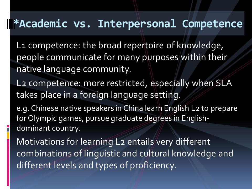 L1 competence: the broad repertoire of knowledge, people communicate for many purposes within their native language community. L2 competence: more res