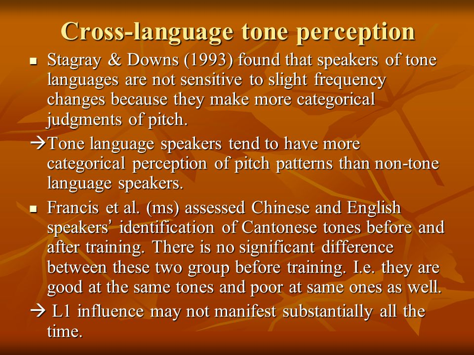 Cantonese-speaking learners: Cantonese-speaking learners:  L1 interference Cantonese tone system (Bauer and Benedict, 1997) and corresponding Mandarin tones Cantonese tone system (Bauer and Benedict, 1997) and corresponding Mandarin tones High level High rising Mid level Mid- low level Mid- low falling Mid- low rising Cantonese55/532533222123 Mandarin55/5135