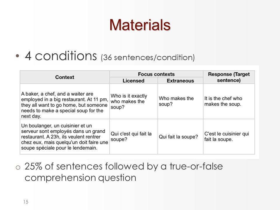 15Materials 4 conditions (36 sentences/condition) o 25% of sentences followed by a true-or-false comprehension question