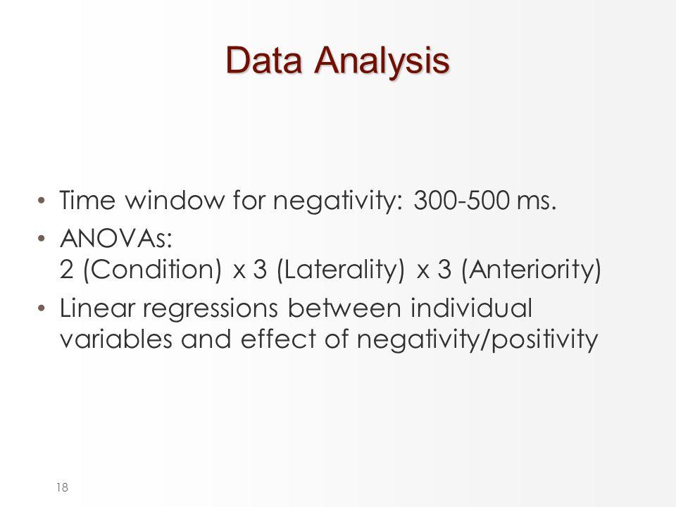 18 Data Analysis Time window for negativity: 300-500 ms.