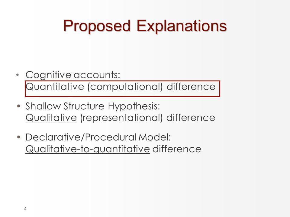 4 Proposed Explanations Cognitive accounts: Quantitative (computational) difference Shallow Structure Hypothesis: Qualitative (representational) difference Declarative/Procedural Model: Qualitative-to-quantitative difference