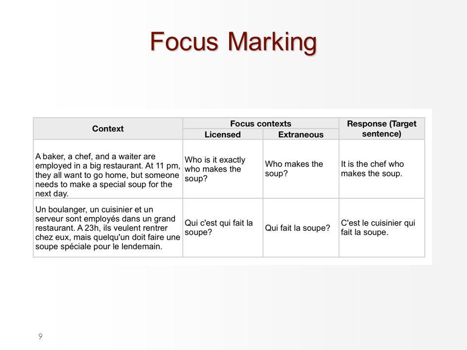 9 Focus Marking