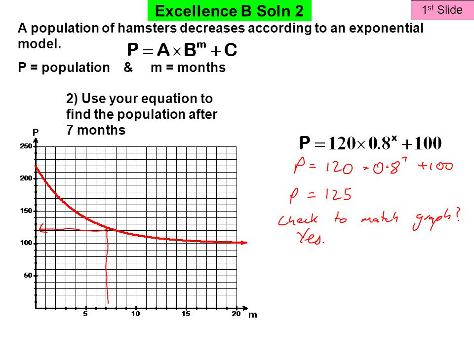 Excellence B Soln 2 1 st Slide A population of hamsters decreases according to an exponential model.