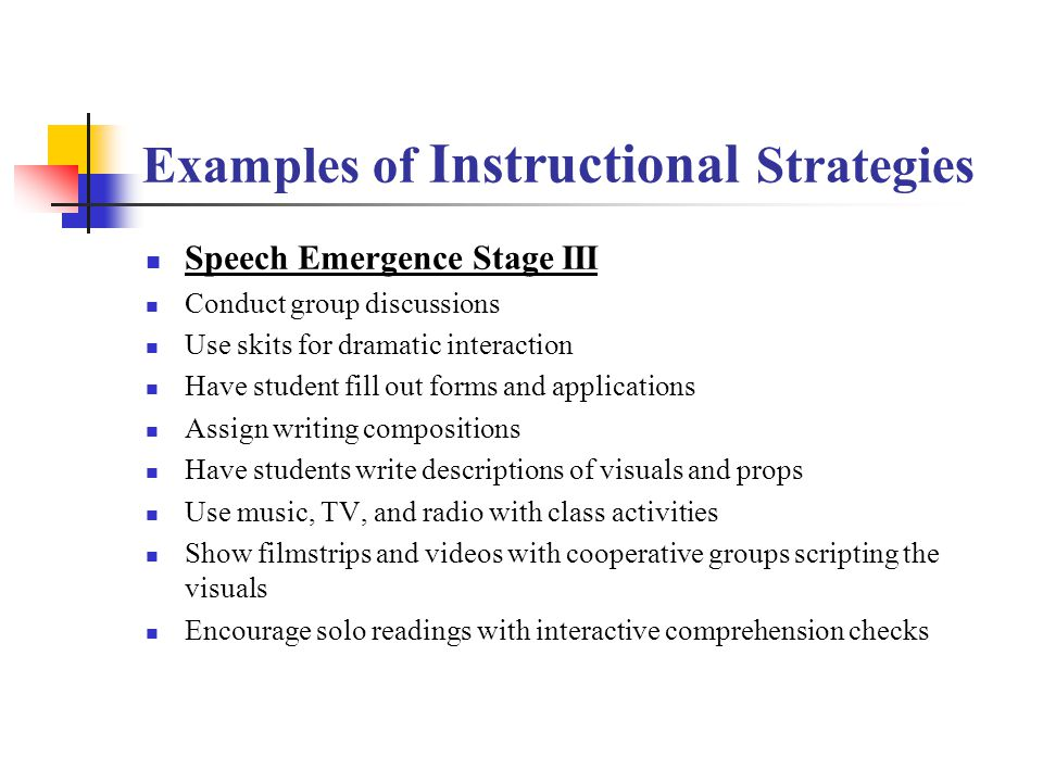 Examples of Instructional Strategies Early Production Stage II Engage students in charades and linguistic guessing games Do role-playing activities Pr