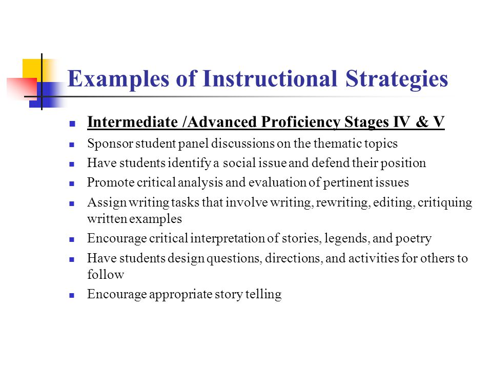Examples of Instructional Strategies Speech Emergence Stage III Conduct group discussions Use skits for dramatic interaction Have student fill out for