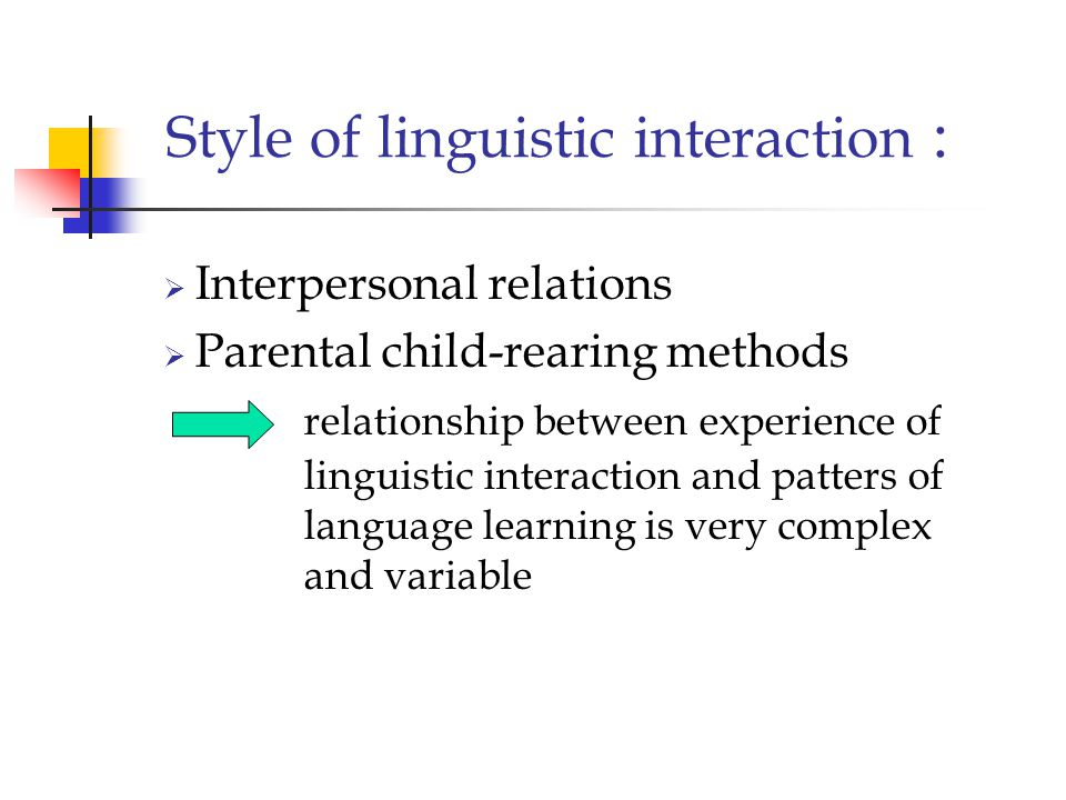 Situation:  Setting  Activity  Number of participants all factors are very significant for child's linguistic behaviour