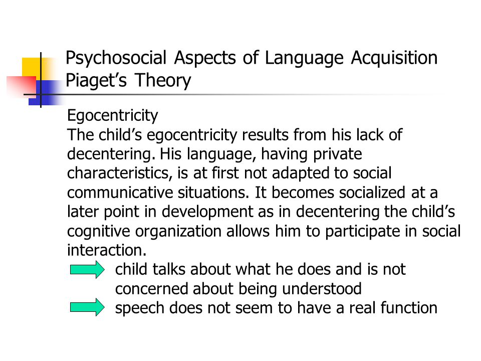Psychosocial Aspects of Language Acquisition Piaget's Theory Critique Adult-child interaction can affect children's reasoning about social or nonsocia