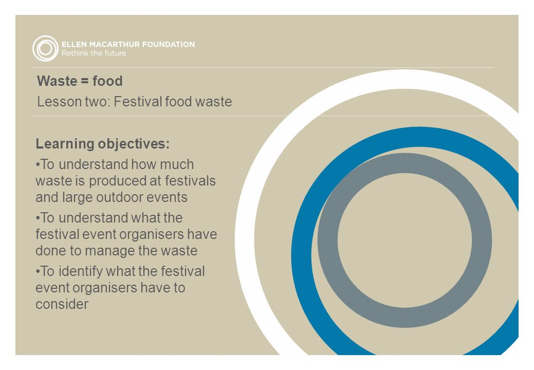 Waste = food Lesson two: Festival food waste Learning objectives: To understand how much waste is produced at festivals and large outdoor events To un