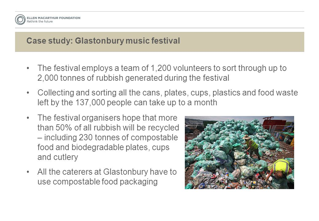 Case study: Glastonbury music festival The festival employs a team of 1,200 volunteers to sort through up to 2,000 tonnes of rubbish generated during