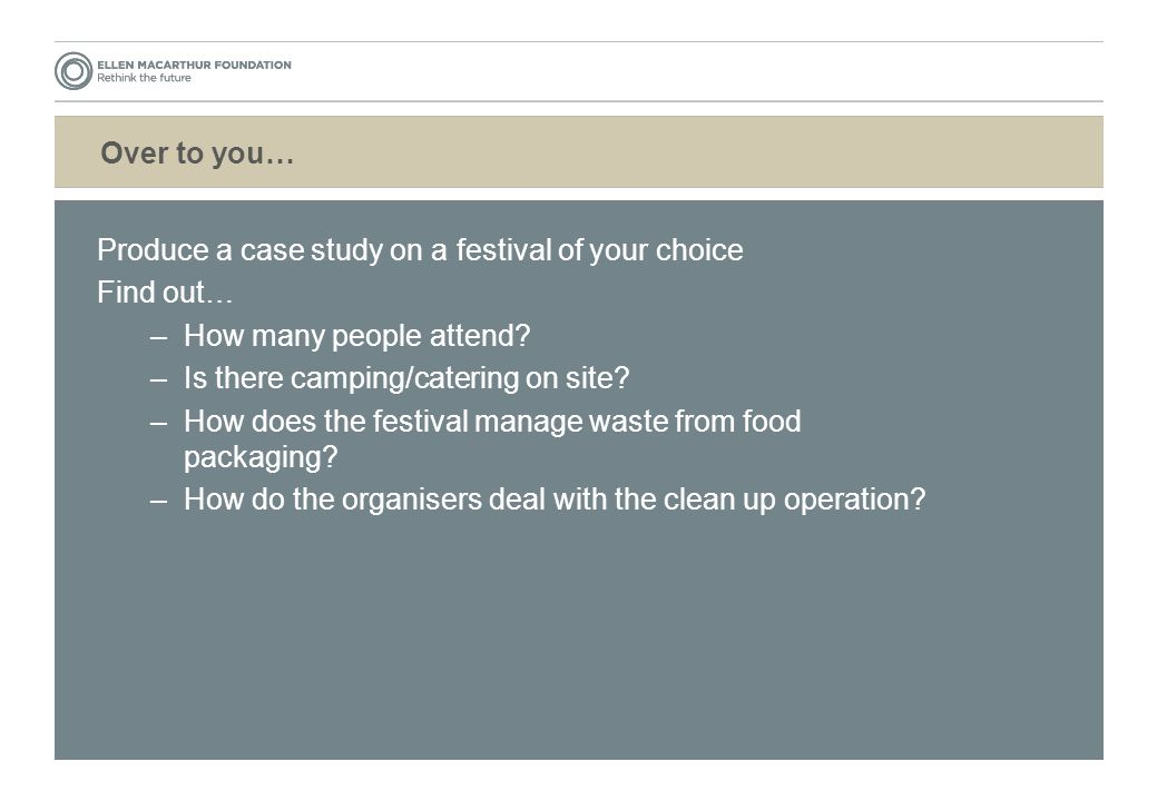 Over to you… Produce a case study on a festival of your choice Find out… –How many people attend.
