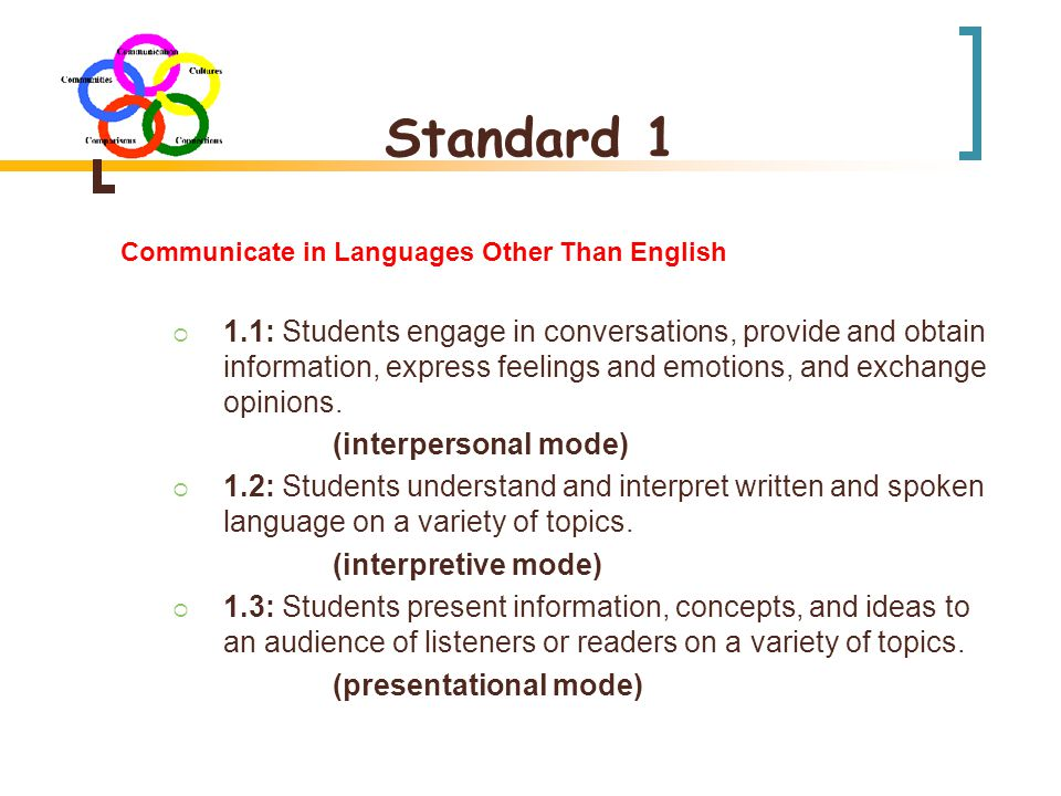 Standard 1 Communicate in Languages Other Than English  1.1: Students engage in conversations, provide and obtain information, express feelings and emotions, and exchange opinions.