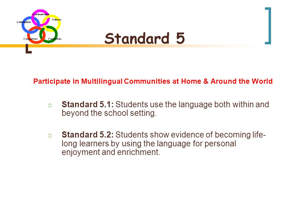 Standard 5 Participate in Multilingual Communities at Home & Around the World  Standard 5.1: Students use the language both within and beyond the school setting.