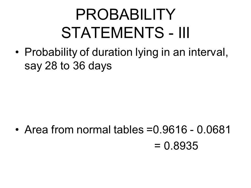 PROBABILITY STATEMENTS - III Probability of duration lying in an interval, say 28 to 36 days Area from normal tables =0.9616 - 0.0681 = 0.8935
