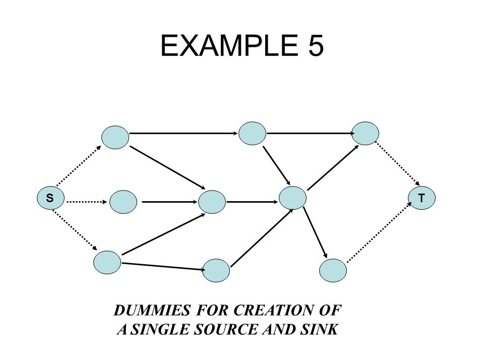 EXAMPLE 5 ST DUMMIES FOR CREATION OF A SINGLE SOURCE AND SINK