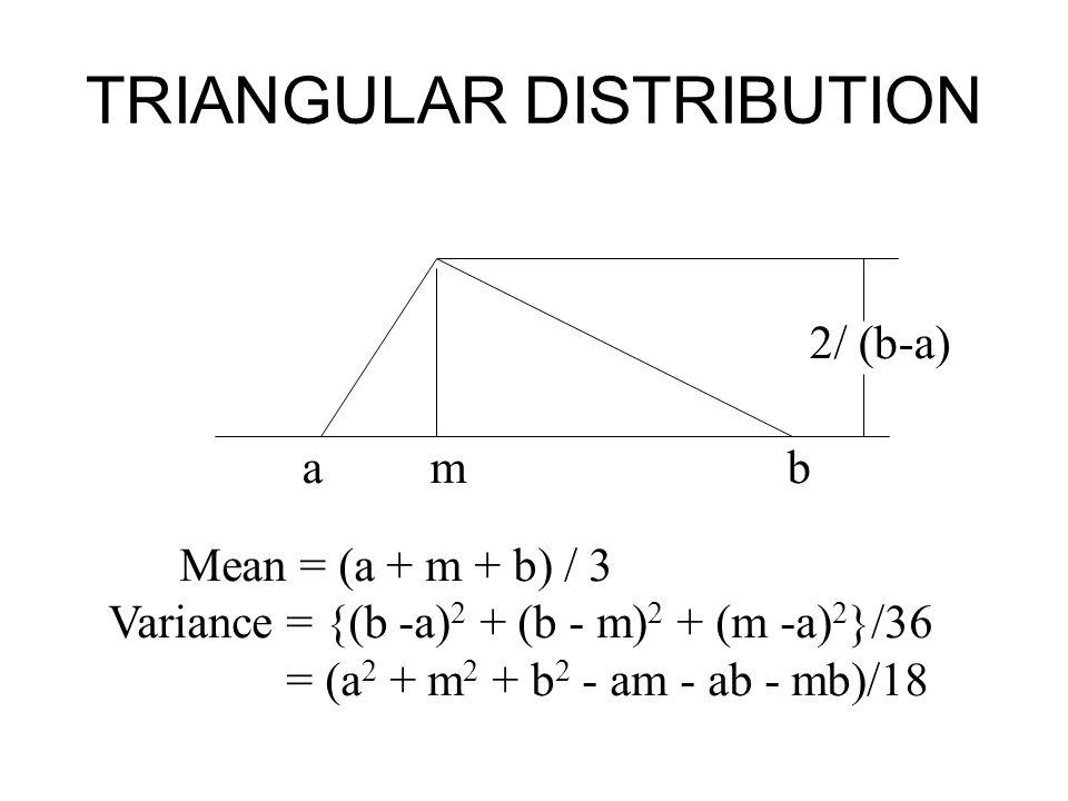 TRIANGULAR DISTRIBUTION a m b Mean = (a + m + b) / 3 Variance = {(b -a) 2 + (b - m) 2 + (m -a) 2 }/36 = (a 2 + m 2 + b 2 - am - ab - mb)/18 2/ (b-a)