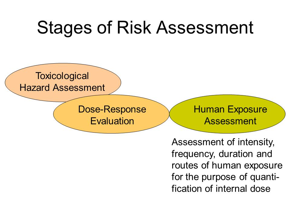 Stages of Risk Assessment Toxicological Hazard Assessment Human Exposure Assessment Risk Characterisation Dose-Response Evaluation Integration of available information to produce conclusions on the probability of adverse effects
