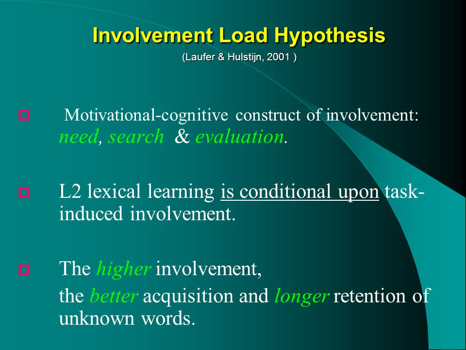  Motivational-cognitive construct of involvement: need, search & evaluation.