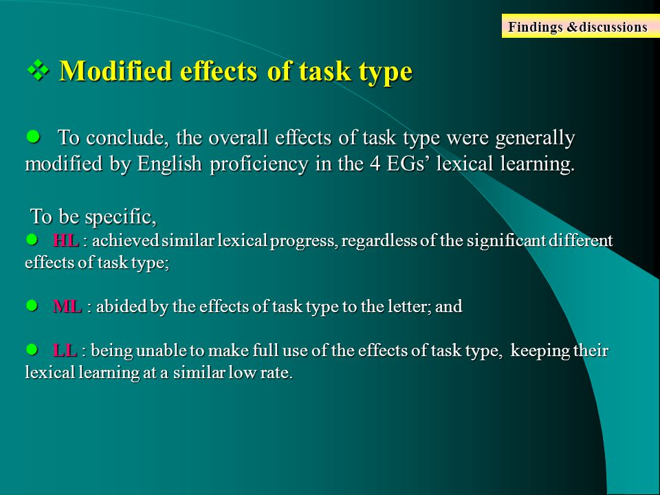  Modified effects of task type To conclude, the overall effects of task type were generally modified by English proficiency in the 4 EGs' lexical learning.