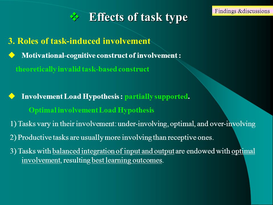  Effects of task type 3.