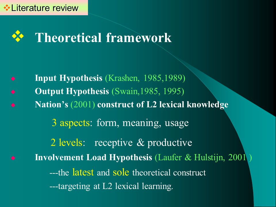  Literature review  Theoretical framework  Input Hypothesis (Krashen, 1985,1989)  Output Hypothesis (Swain,1985, 1995)  Nation's (2001) construct of L2 lexical knowledge 3 aspects: form, meaning, usage 2 levels: receptive & productive  Involvement Load Hypothesis (Laufer & Hulstijn, 2001 ) ---the latest and sole theoretical construct ---targeting at L2 lexical learning.