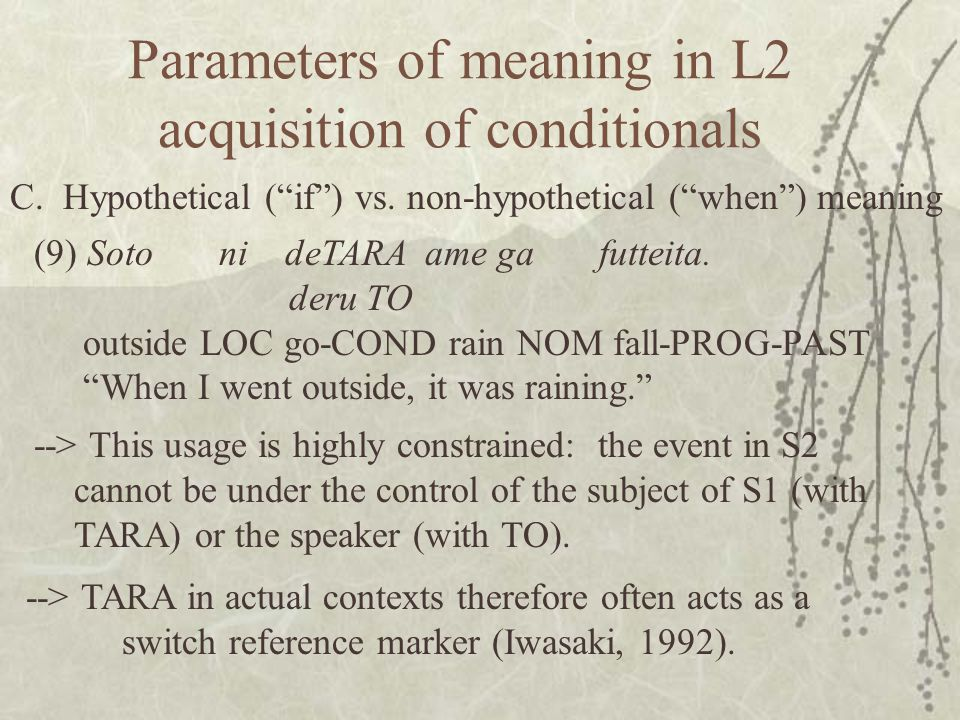 Parameters of meaning in L2 acquisition of conditionals C.