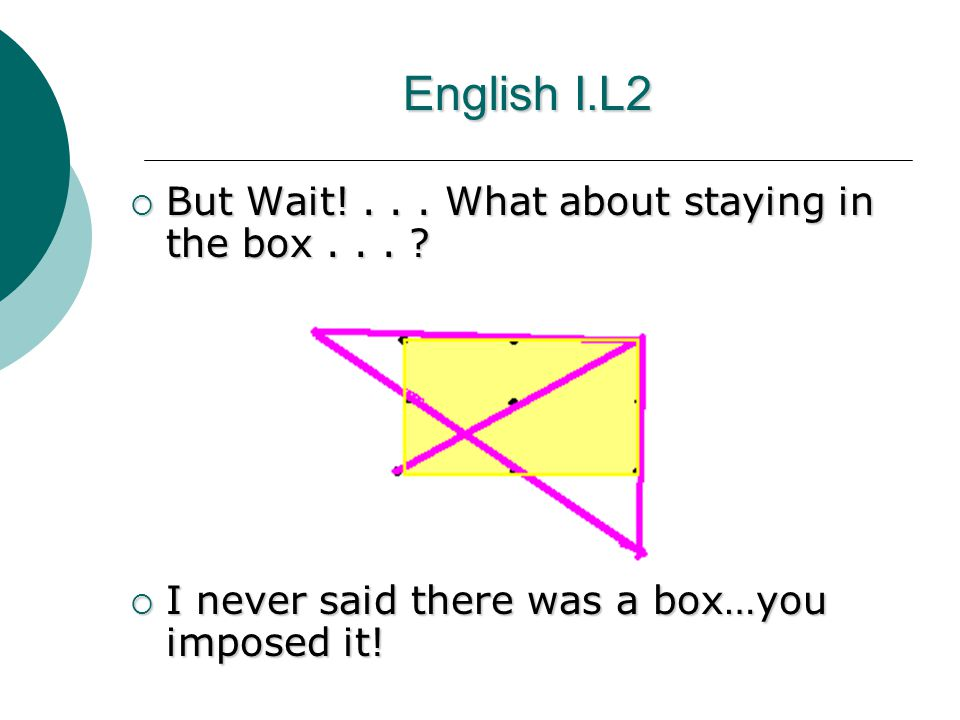 English I.L2  But Wait!... What about staying in the box...
