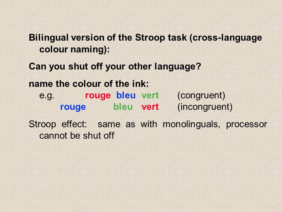 Bilingual version of the Stroop task (cross-language colour naming): Can you shut off your other language.