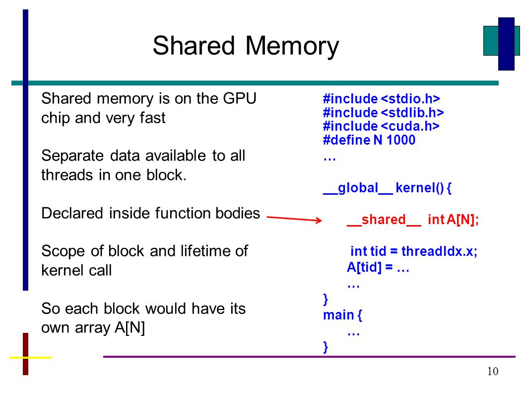 10 Shared Memory Shared memory is on the GPU chip and very fast Separate data available to all threads in one block. Declared inside function bodies S