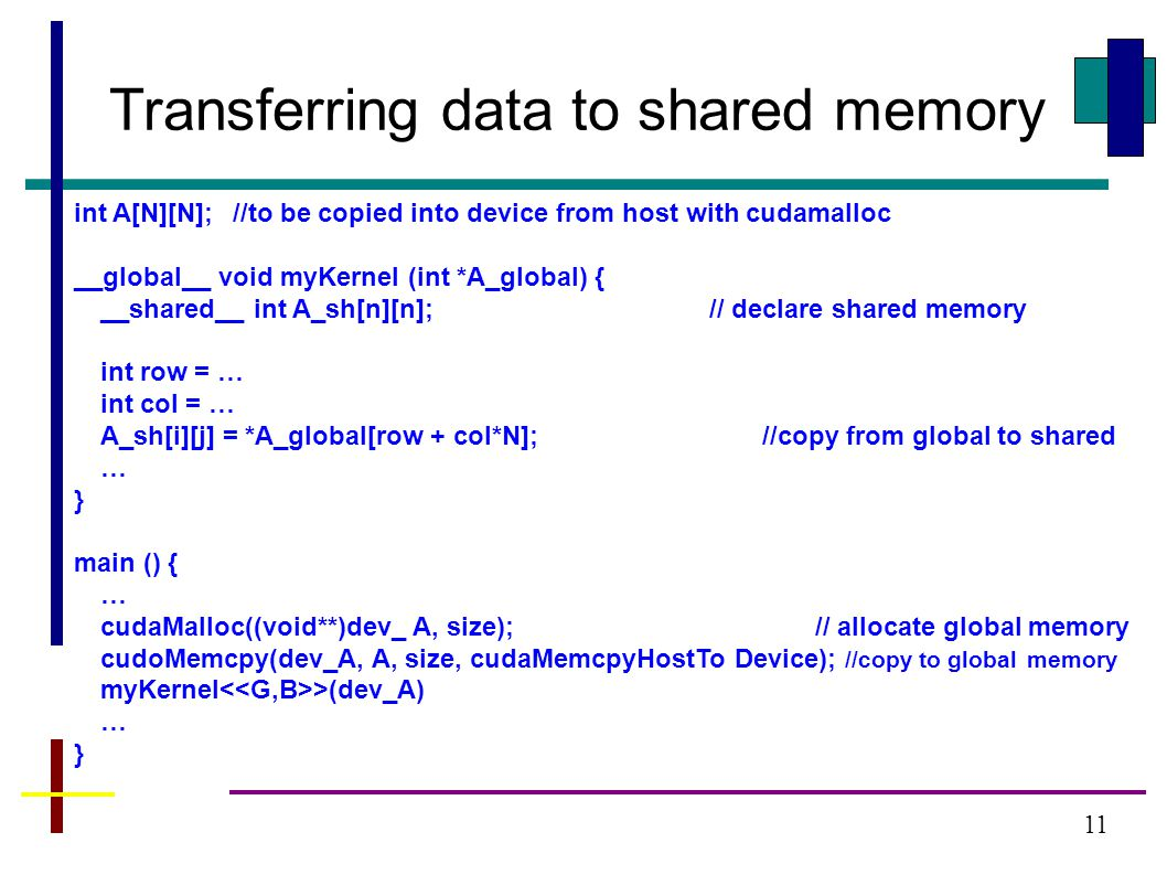 11 Transferring data to shared memory int A[N][N];//to be copied into device from host with cudamalloc __global__ void myKernel (int *A_global) { __shared__ int A_sh[n][n];// declare shared memory int row = … int col = … A_sh[i][j] = *A_global[row + col*N]; //copy from global to shared … } main () { … cudaMalloc((void**)dev_ A, size);// allocate global memory cudoMemcpy(dev_A, A, size, cudaMemcpyHostTo Device); //copy to global memory myKernel >(dev_A) … }