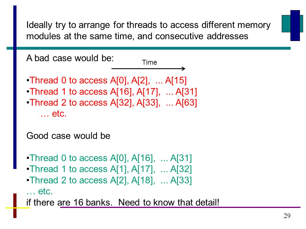 29 Ideally try to arrange for threads to access different memory modules at the same time, and consecutive addresses A bad case would be: Thread 0 to access A[0], A[2],...