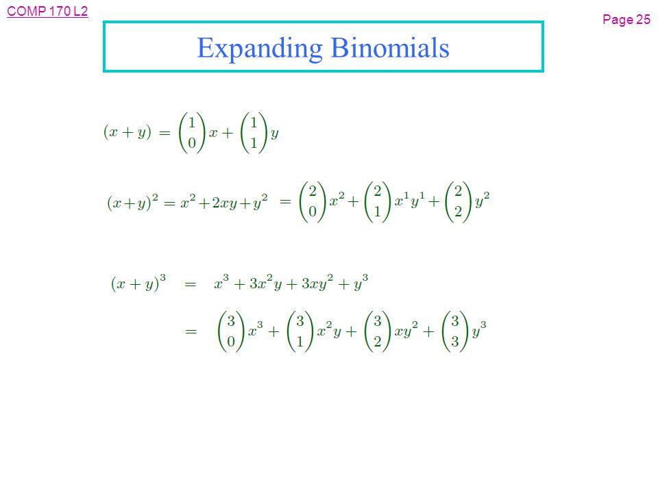 COMP 170 L2 Page 25 Expanding Binomials