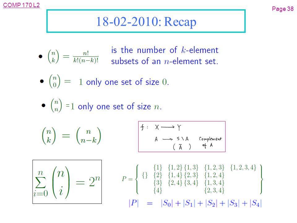 COMP 170 L2 Page 38 18-02-2010: Recap