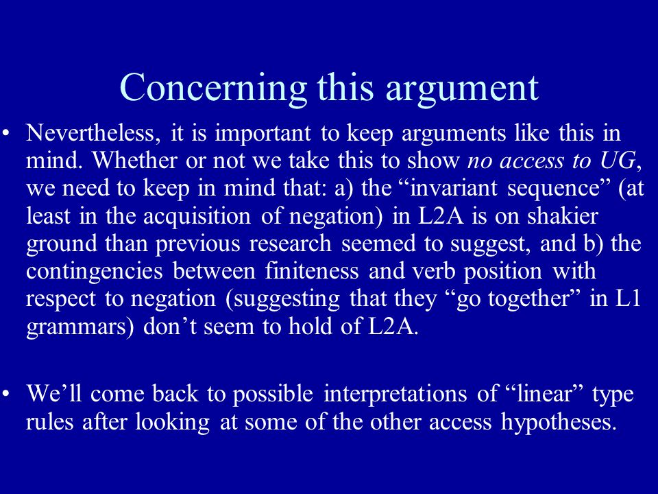 Concerning this argument Nevertheless, it is important to keep arguments like this in mind.