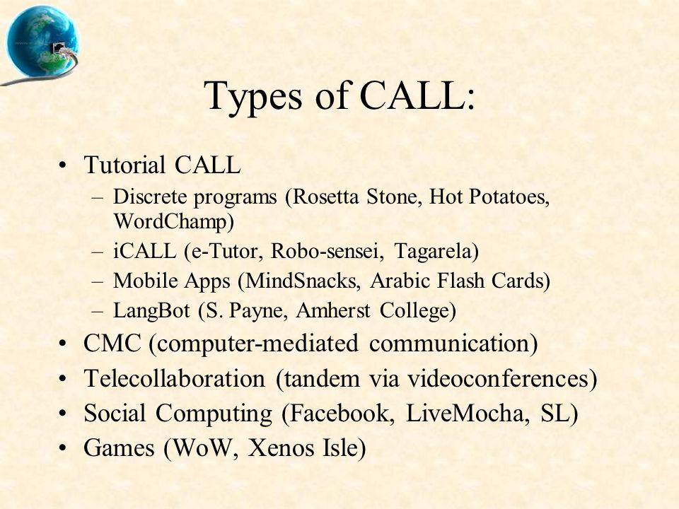Types of CALL: Tutorial CALL –Discrete programs (Rosetta Stone, Hot Potatoes, WordChamp) –iCALL (e-Tutor, Robo-sensei, Tagarela) –Mobile Apps (MindSna