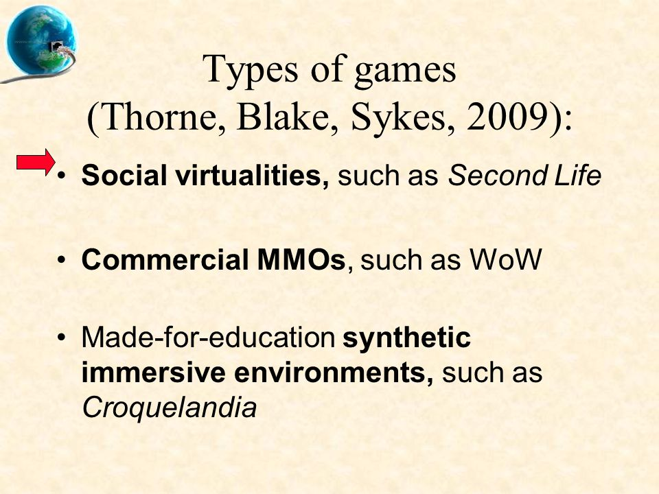 Types of games (Thorne, Blake, Sykes, 2009): Social virtualities, such as Second Life Commercial MMOs, such as WoW Made-for-education synthetic immersive environments, such as Croquelandia