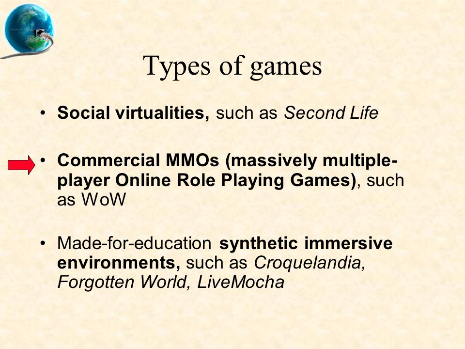Types of games Social virtualities, such as Second Life Commercial MMOs (massively multiple- player Online Role Playing Games), such as WoW Made-for-education synthetic immersive environments, such as Croquelandia, Forgotten World, LiveMocha
