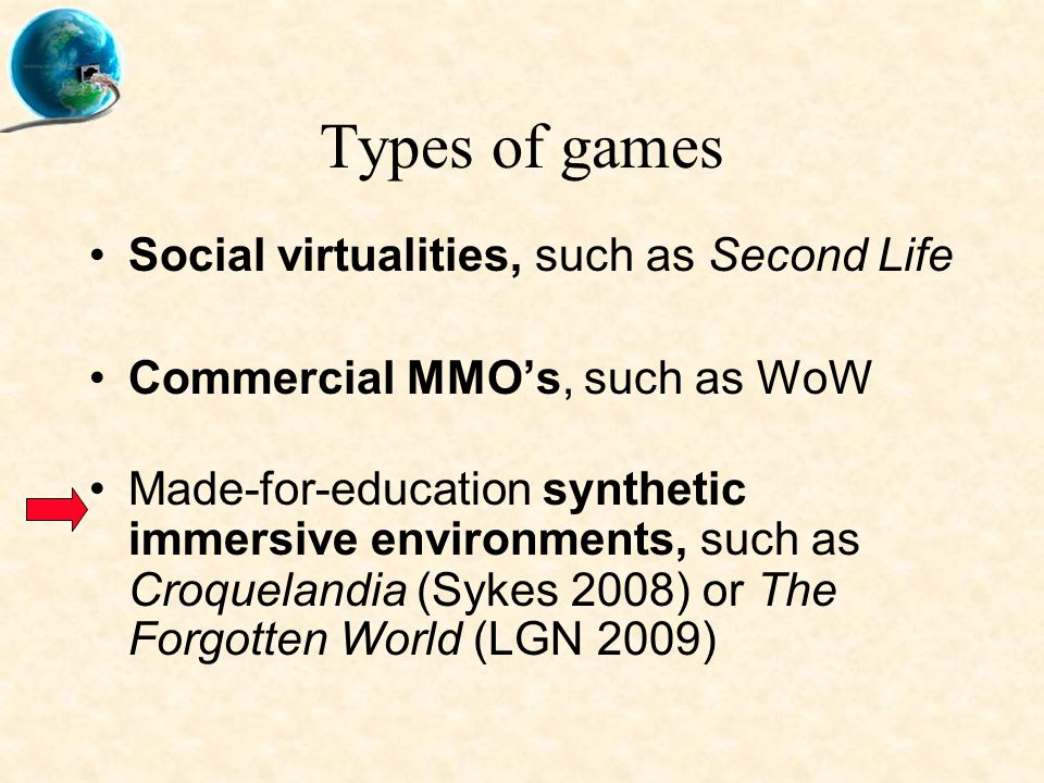 Types of games Social virtualities, such as Second Life Commercial MMO's, such as WoW Made-for-education synthetic immersive environments, such as Croquelandia (Sykes 2008) or The Forgotten World (LGN 2009)