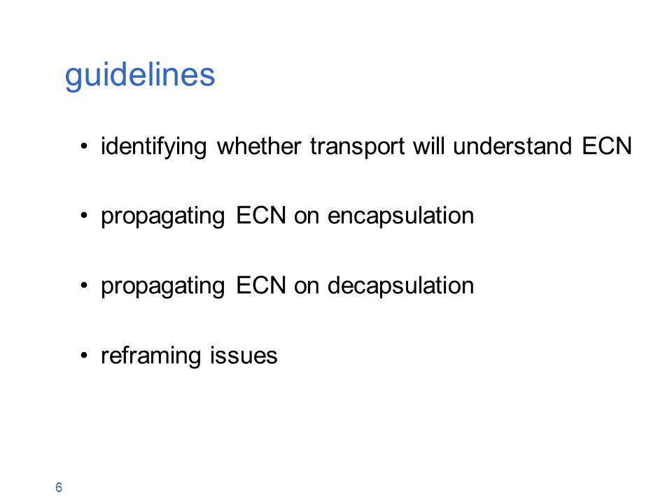 7 guidelines identifying whether transport will understand ECN new problem: will decapsulator understand ECN.