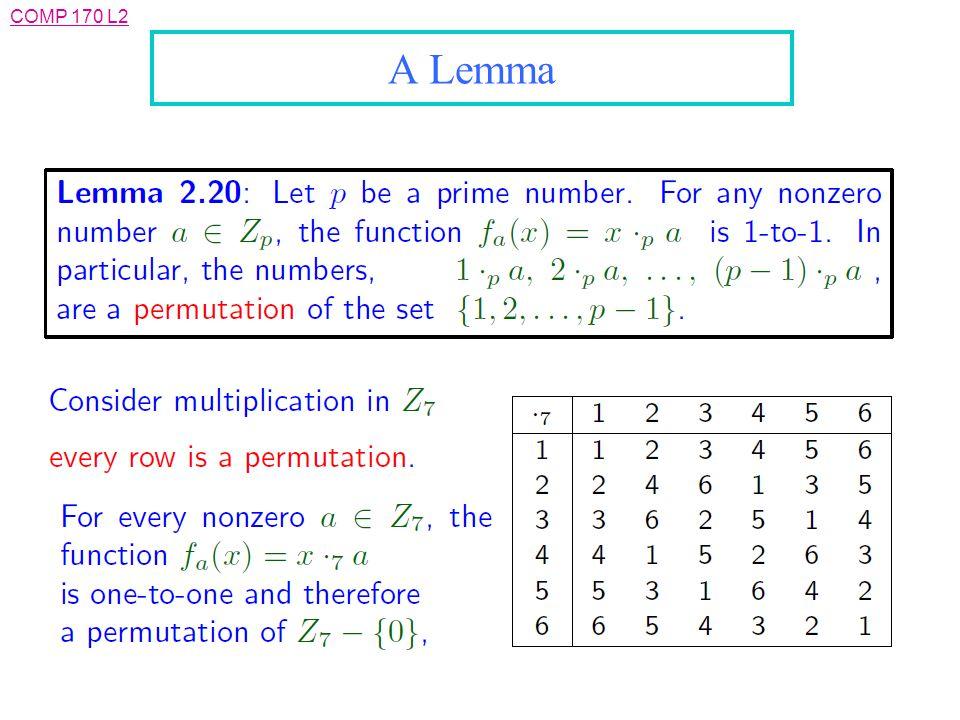COMP 170 L2 A Lemma