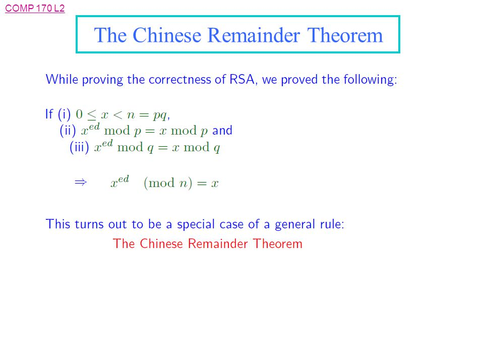COMP 170 L2 The Chinese Remainder Theorem
