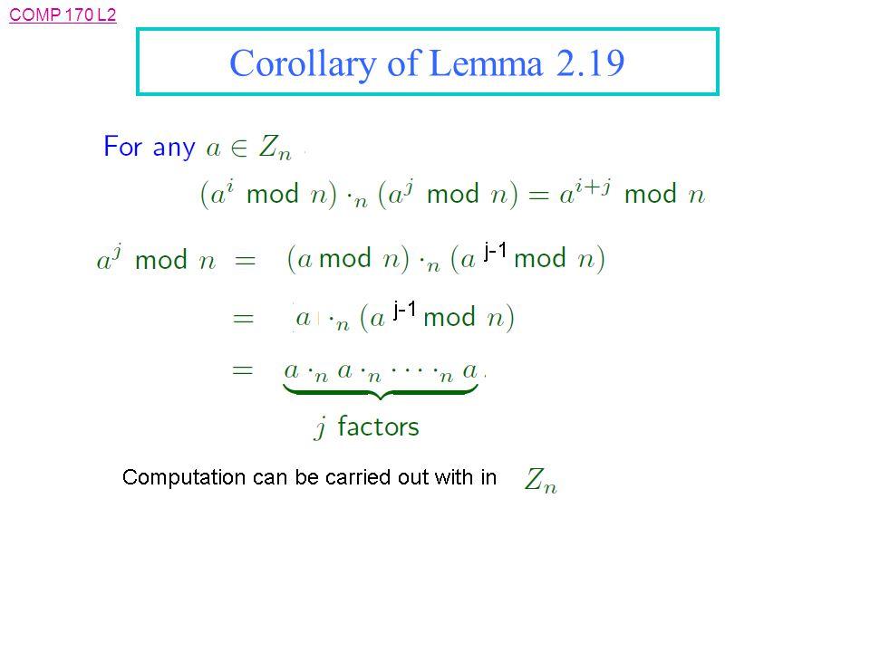 Corollary of Lemma 2.19