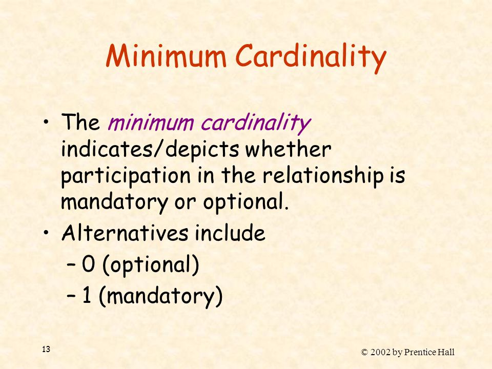 © 2002 by Prentice Hall 13 Minimum Cardinality The minimum cardinality indicates/depicts whether participation in the relationship is mandatory or opt