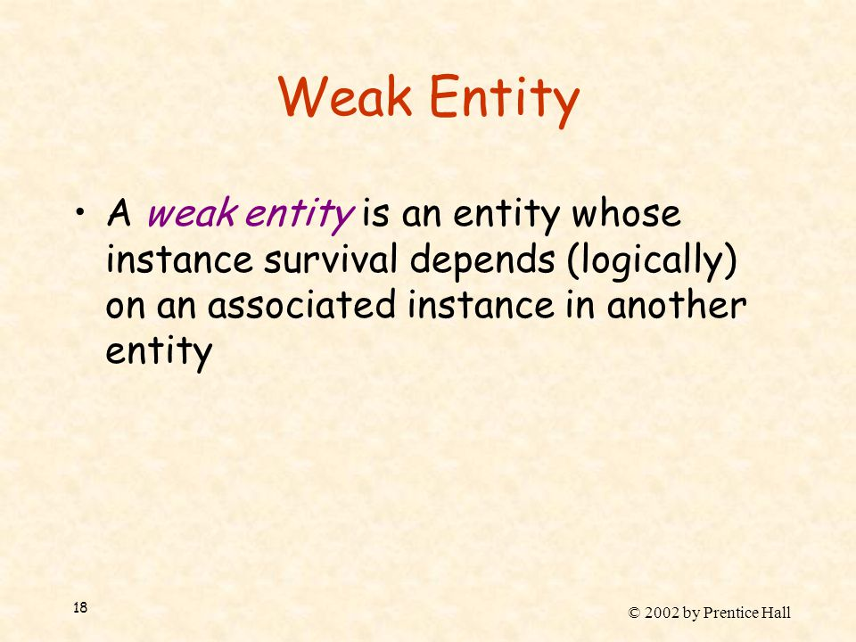 © 2002 by Prentice Hall 18 Weak Entity A weak entity is an entity whose instance survival depends (logically) on an associated instance in another ent